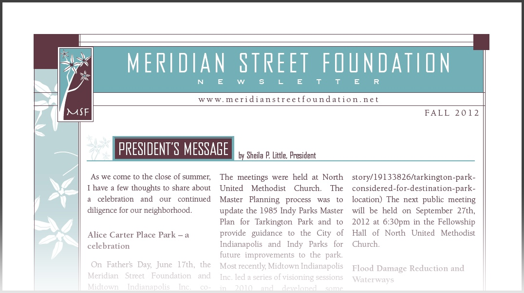 Meridian Street Foundation Newsletter